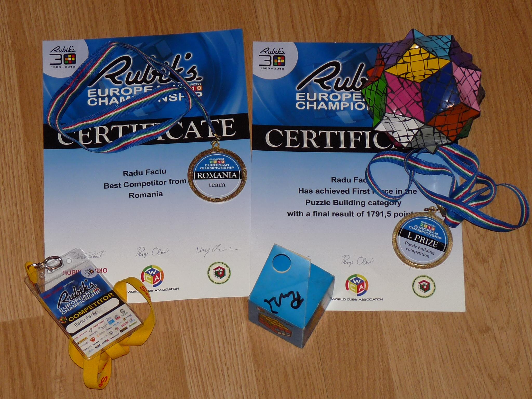 Medaliile şi certificatele câstigate